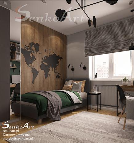 Pokój z drewnianą mapą świata