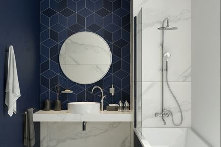 Mała łazienka w marmurze i geometrycznej mozaice