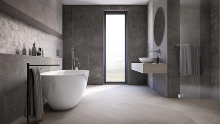 Duża szara łazienka w minimalistycznym stylu