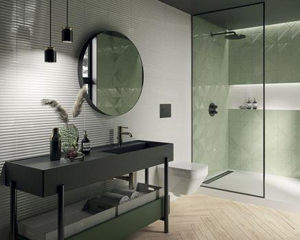 Biało-zielona łazienka z czarną ceramiką