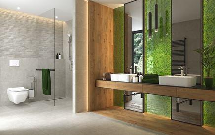 Beton w towarzystwie drewna i roślinnych akcentów Cersanit Fresh Moss