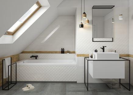Miracle - biała łazienka przełamana drewnem