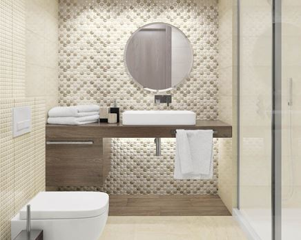 Beżowa łazienka z ozdobną płytką ścienną Paradyż Enrica