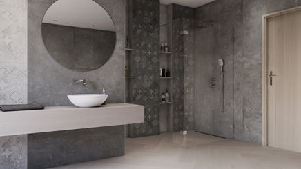 Aranżacja szarej łazienki z patchworkowymi płytami