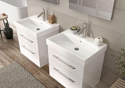 Białe szafki podumywalkowe kolekcji Elita Barcelona