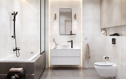 Marmurowa łazienka z połyskliwymi dekorami