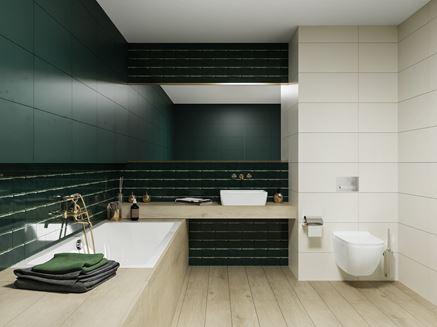 Łazienka w ciemnej zieleni z dodatkiem drewna