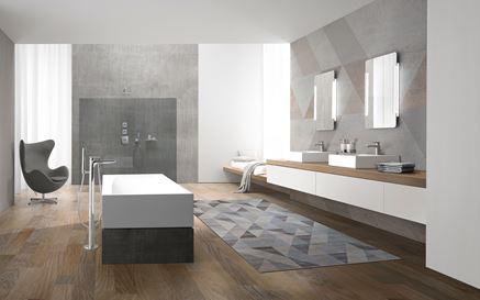 Salon kąpielowy w szarościach i brązach
