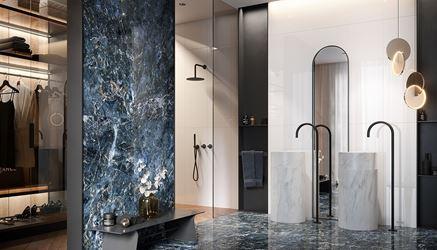 Łazienka w stylu glamour z niebieskim kamieniem