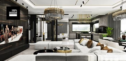 Nowoczesny salon z szarym wypoczynkiem - projekt Artdesign
