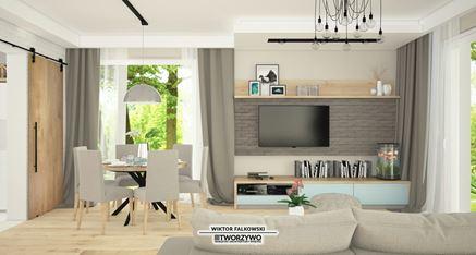 Salon skandynawski - widok na ściankę telewizyjną z szarą cegłą i stół jadalny