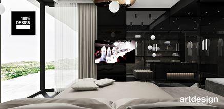 Luksusowa sypialnia w czerni otwarta na garderobę