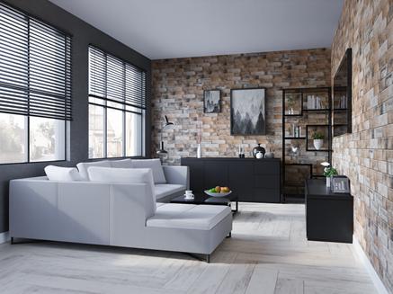 Aranżacja nowoczesnego salonu w drewnie z cegiełkową ścianą
