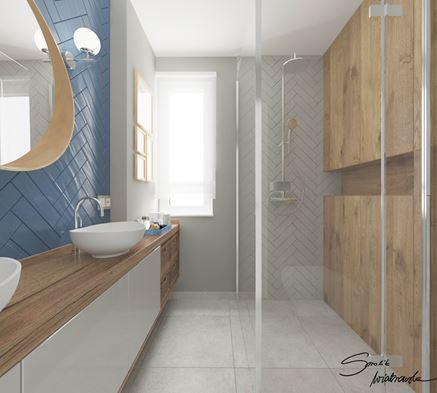 Prysznic walk-in w jasnej łazience gościnnej