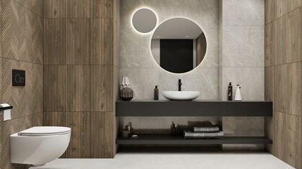 Strukturalne drewno w łazience w szarym kamieniu