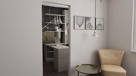 Sypialnia obok domowego biura
