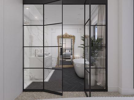 Luksusowo eklektyczna łazienka w czerni i bieli
