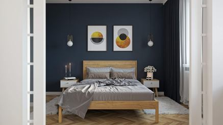 Sypialnia z dodatkiem granatu