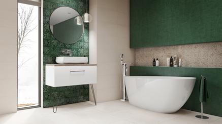 Łazienka inspirowana orientem z akcentami zieleni