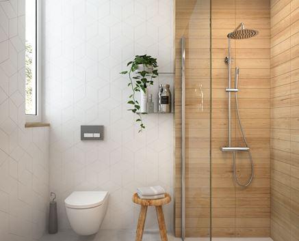 Łazienka w płytkach drewnianych i heksagonalnych