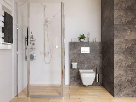 Łazienka z grafitowymi i białymi płytkami połączonymi z drewnem