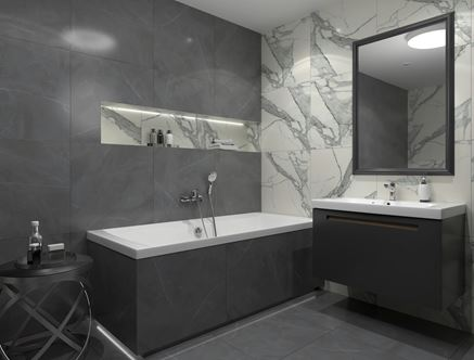 Łazienka w kolekcjach Tubądzin Specchio Carrara oraz Gray Pulpis