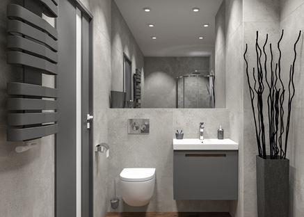 Mała łazienka z betonowymi płytkami