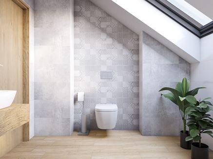 Szara strefa toaletowa z patchworkiem