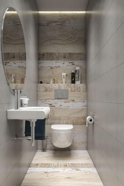 Toaleta z dekoracyjną płytką drewnopodobną