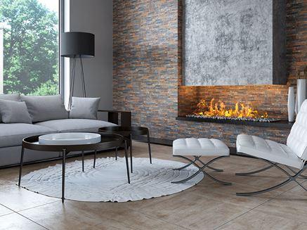 Kamień i beton w salonie