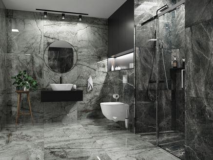Łazienka w szarym kamieniu Opoczno Essential