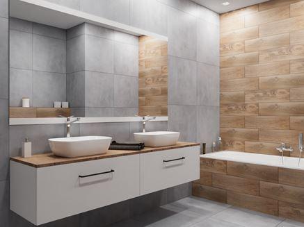 Drewno i beton w nowoczesnej łazience