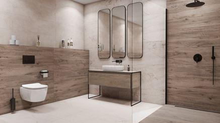 Jasna łazienka z płytami z wzorem drewna i marmuru