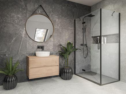 Nowoczesna łazienka w szarym kamieniu