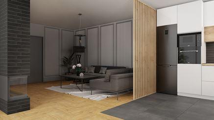Szary salon z kuchnią wykończony drewnem i cegiełką