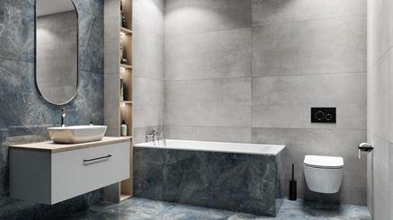 Nowoczesna łazienka w szarej i niebieskiej kolorystyce