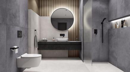 Aranżacja minimalistycznej łazienki w szarości i bieli
