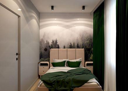 Mała sypialnia z fototapetą z widokiem na las