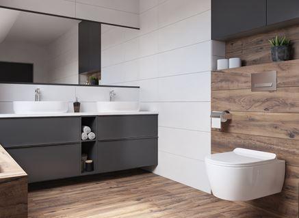Biel i drewno w aranżacji nowoczesnej łazienki