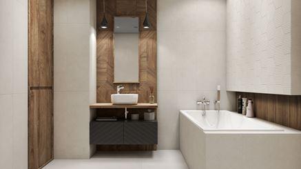 Biel i drewno w łazience ze strukturą