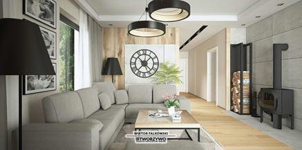Dekoracyjna ściana z drewnem i betonem w salonie