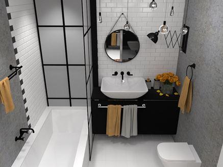 Kawalerka - łazienka vintage