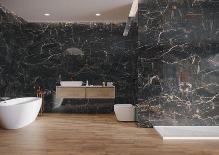 Luksusowa łazienka z wielkoformatowym gresem - kolekcja Marquina Gold