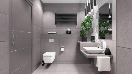 Stylowa szarość - łazienka w płytkach Paradyż Hexx Universum oraz Intero