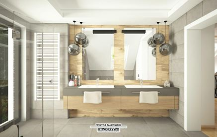 Łazienka na poddaszu - widok na strefę umywalek
