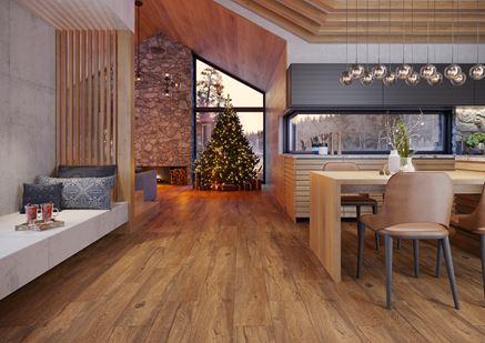 Kuchnia w drewnie w świątecznym klimacie