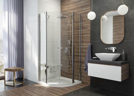 Nowoczesna łazienka z narożną kabiną Alpinia