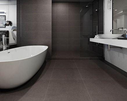 Stylowa łazienka z ciemną podłogą Paradyż Intero