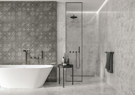 Szara łazienka zdobiona płytką z motywem typu patchwork - Cerrad Softcement
