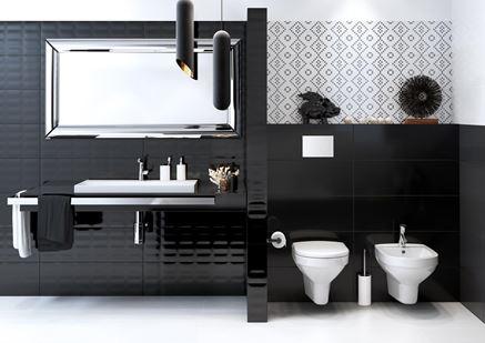 Aranżacja czarno-białej łazienki Opoczno Pret-a-porter